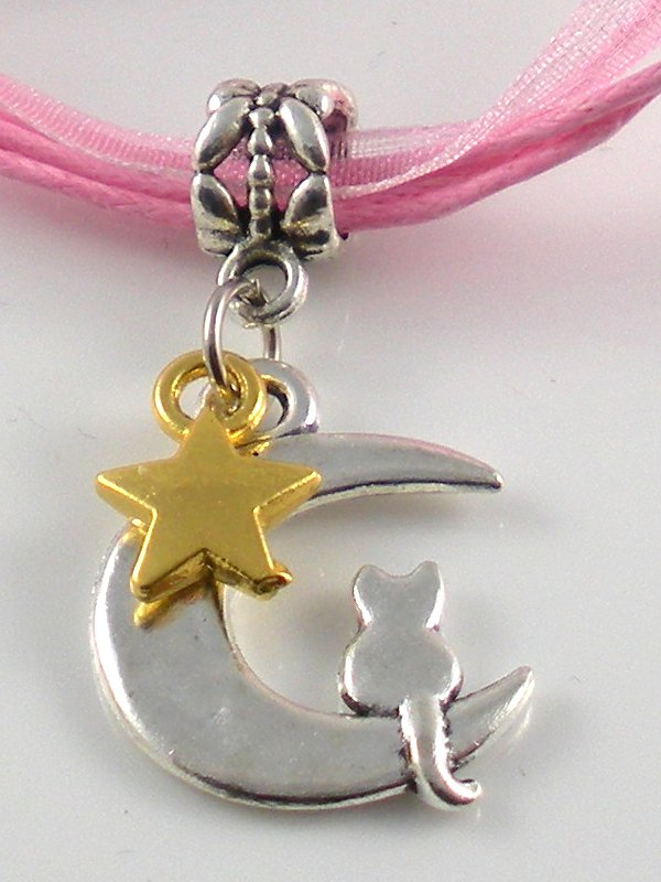 Pink Ribbon Necklace ~ Sailor Moon Luna ~ Cat on a Crescent Moon Gold Star
