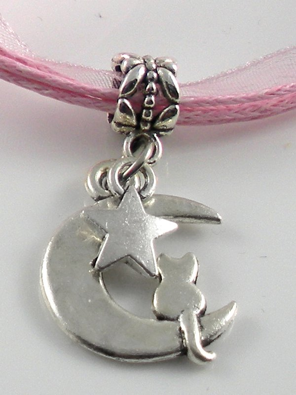 Pink Ribbon Necklace ~ Sailor Moon Luna ~ Cat on a Crescent Moon Silver Star