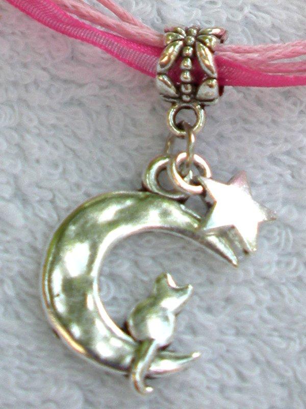Dark Pink Ribbon Necklace ~ Sailor Moon Luna ~ Cat on a Crescent Moon Silver Star
