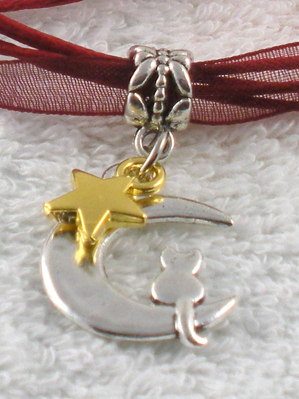 Dark Red Ribbon Necklace ~ Sailor Moon Luna ~ Cat on a Crescent Moon Gold Star