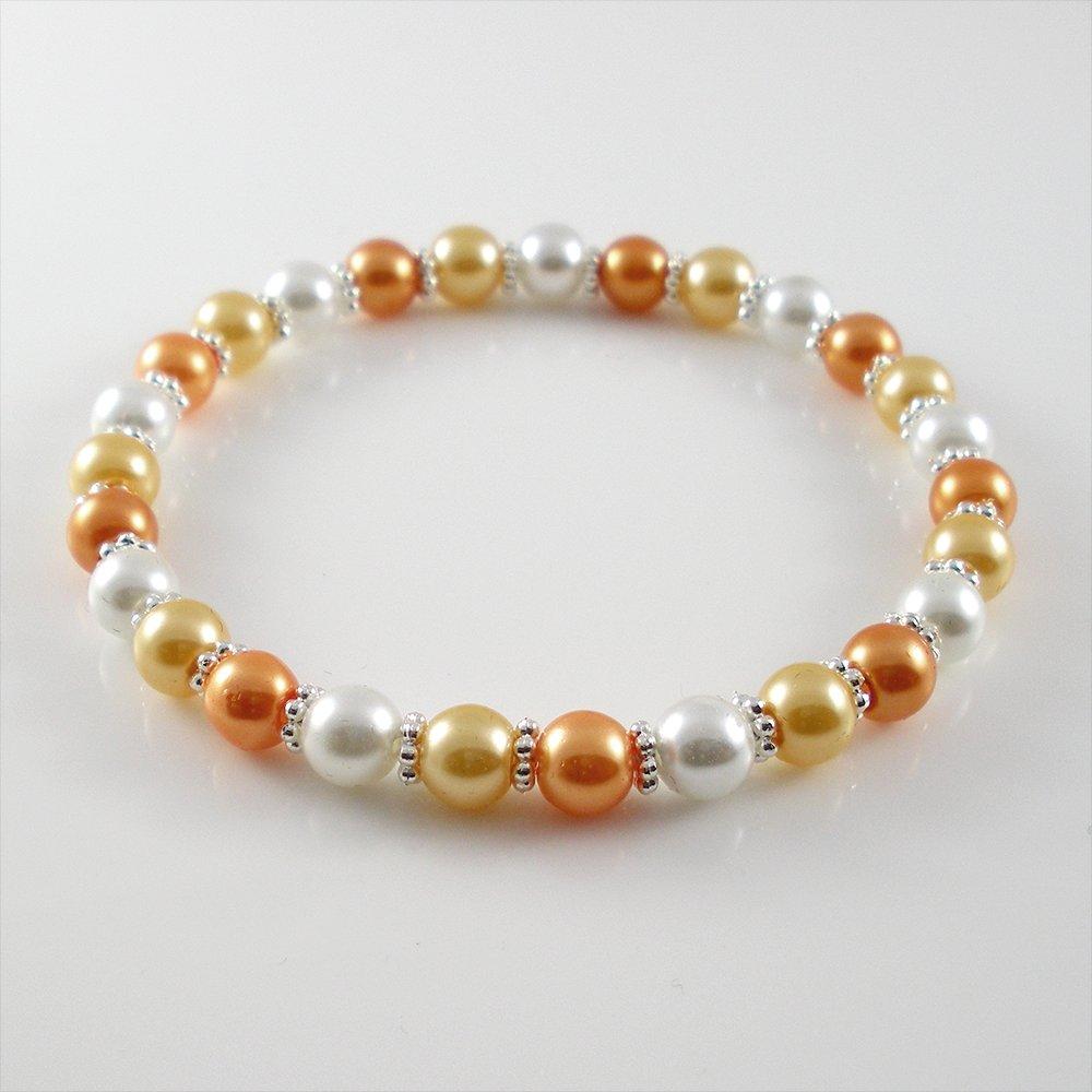 [01-04-09] [Silver] TriColor Kamala Glass Pearl Elastic Bracelet