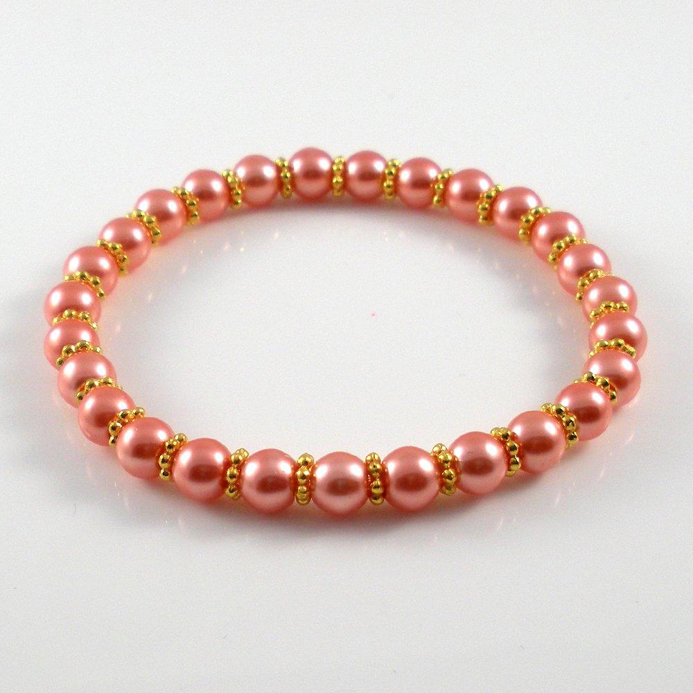 [08] [Gold] Kamala Glass Pearl Elastic Bracelet - Peach