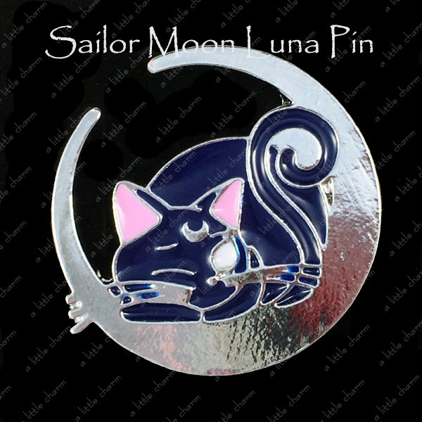 Sailor Moon Luna Sitting on a Crecent Moon Pin