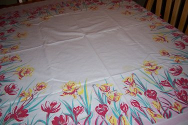 beautiful Springtime Tulips vintage tablecloth