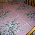 Pink Bouquets Vintage linen Tablecloth