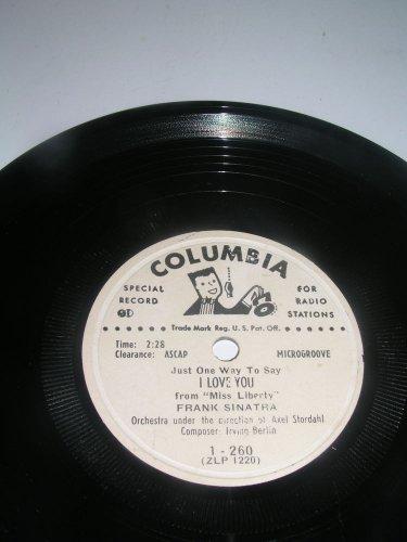 """FRANK SINATRA """"I LOVE YOU"""" RARE COLUMBIA RECORDS 7 INCH PROMO 33 RPM"""