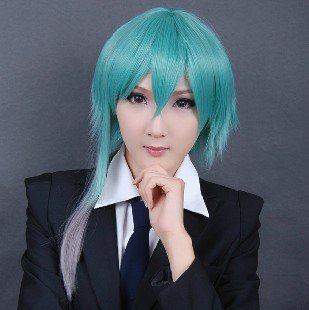 30cm Short Hair Mikuo Alice Bluish Green Cosplay Wig