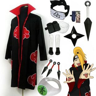 Fastest Shipping Naruto Akatsuki cloak Deidara Cosplay Costume