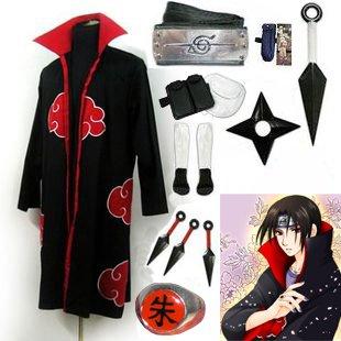 Fastest Shipping Naruto Akatsuki cloak Uchiha Itachi Cosplay Costume