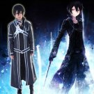 A SET OF Sword Art Online Kirigaya Kazuto/Kirito Cosplay Costume