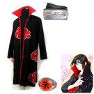 Naruto Akatsuki cloak  Uchiha Itachi  Cosplay Costume (include cloak,headband and rings)