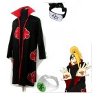 Naruto Akatsuki cloak Deidara Cosplay Costume (include cloak,headband and rings)
