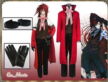 Custom Made Black Butler Grell Sutcliff Cosplay Costume �include wig)