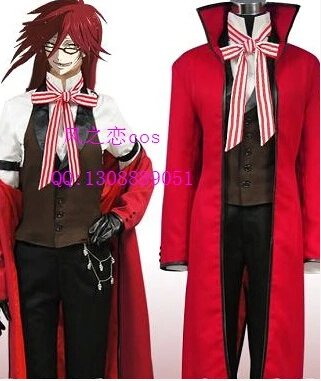 Black Butler Grell Sutcliff Cosplay Costume (include wig)