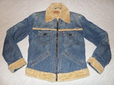 Levis Womens Fur Lined Denim Jacket Size L
