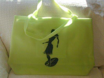 handbagbargains: Green Jelly Tote Beach Bag Hula Girl Print
