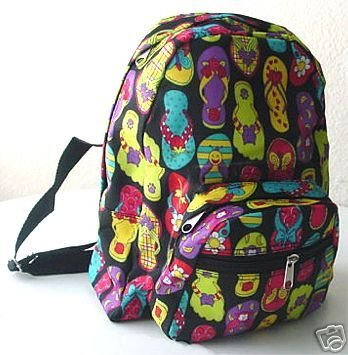 handbagbargains: Black Nylon Flip Flop Print Backpack