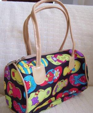 handbagbargains: Flip Flop Print Black Mini Barrel Handbag Purse Tote