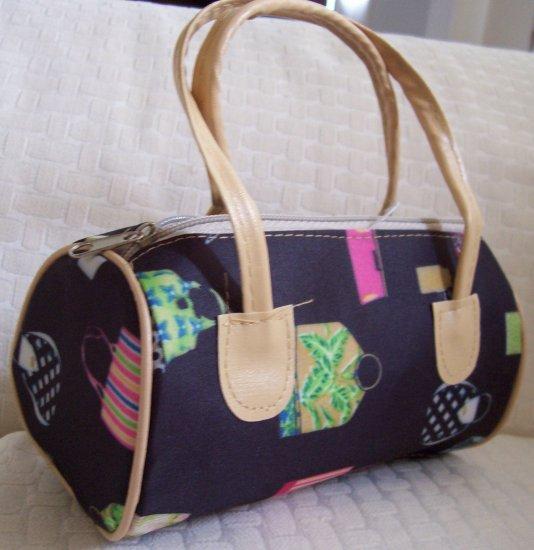 handbagbargains: Pocketbook Print Black Mini Barrel Handbag Purse Tote