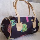 handbagbargains: Pocketbook Print Black Mini Barrel Handbag Purse Tote