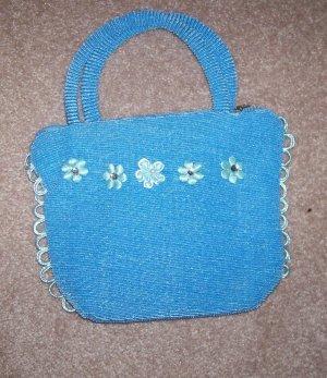 handbagbargains: Blue Knit Flower and Rhinestone Purse