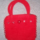 handbagbargains: Red Knit Flower and Rhinestone Purse