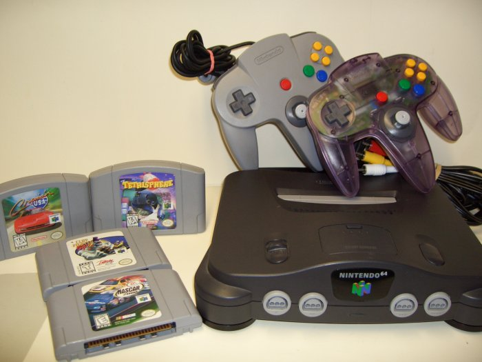 Nintendo 64 N64 system plus all the hookups 2 Controllers Plus Games! NICE!