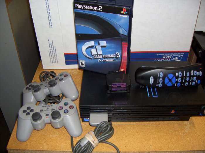 Playstation 2 Game System ~ 2 Controllers ~ DVD Remote Control ~ Grand Turismo 3