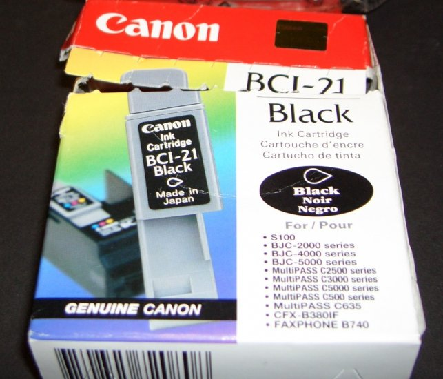 Canon BCI-21 Printer Ink 2pk New (1-Black and 1-Color )