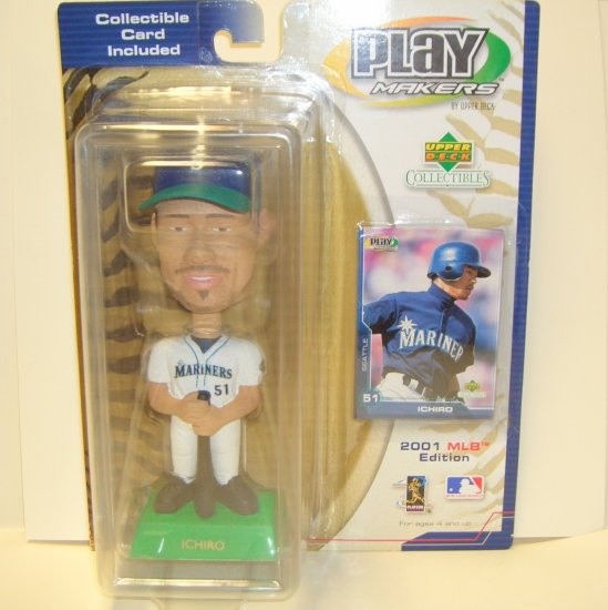 Ichiro Bobble Head with Collectible Card Play Makers by Upper Deck Collectibles 2001 MLB Edition