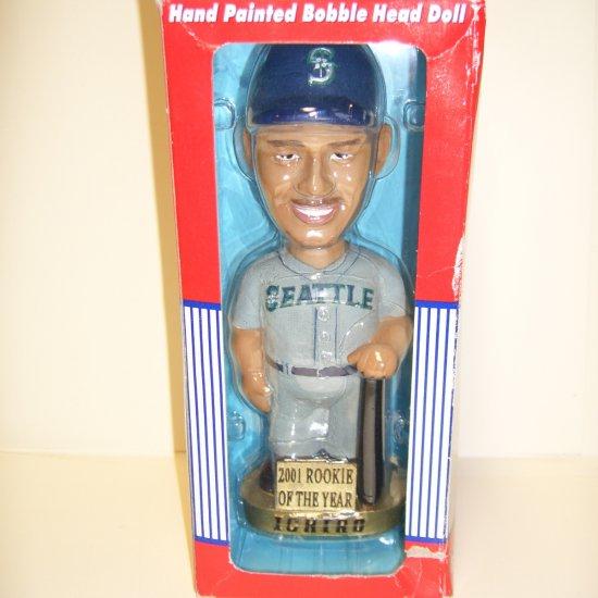 RARE! Seattle Mariners 2001 Rookie of the Year ICHIRO Genuine Hand Painted Bobble Dobble Head Doll