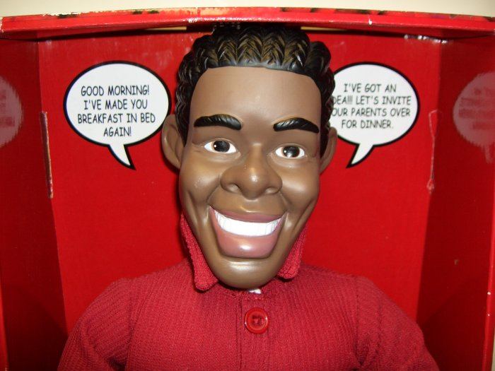 African American Mr. Perfect Talking Doll in Box. He Says What you Want to Hear.    by DanDee