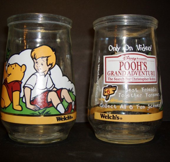 Collectible Welch's Jelly Jar 1 of 6 Christopher Robin & Pooh ~ Pooh's Grand Adventure