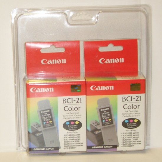Canon BCI-21 Color  Ink Cartridge 2 pack New in Package