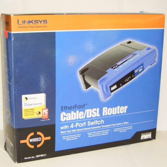 Linksys BEFSR41 EtherFast Cable/DSL Router with 4-Port 10/100 Switch, IEEE 802.3/802.3u