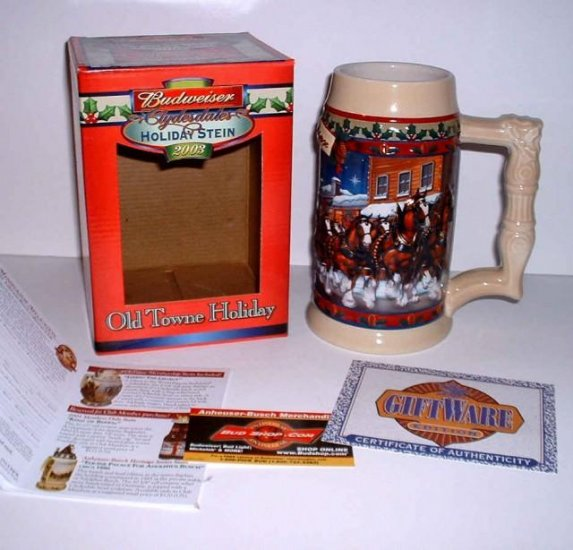 2003 Budweiser Clydesdales Holiday Stein : Old Towne Holiday - New in Box