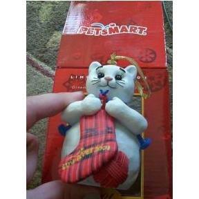 Petsmart Pet Smart Cat Kitty Ornament 2001 Snowkitty Luv-A-Pet Limited Edition