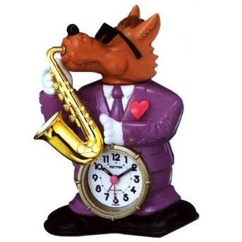 RHYTHM Saxy Wolf Speak-up Alarm Clock in original Box