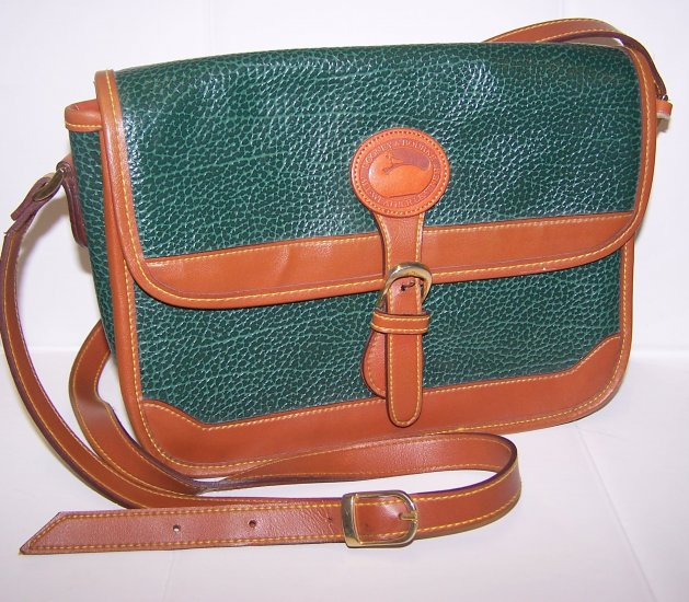 Vintage Dooney & Bourke Brown and Green Handbag