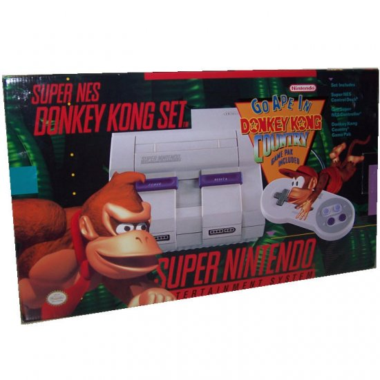 Rare Super Nintendo System Donkey Kong Video Game Set - New in BOX Super Nintendo