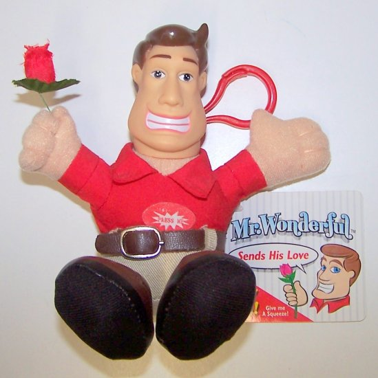 Valentine's Edition TALKING MR. WONDERFUL (2003) Sends His Love Plush Toy KEYCHAIN with Rose