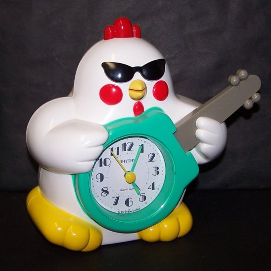 Vintage Rock N Roll Rhythm Chicken Clock Japan  Speak-up Alarm Clock