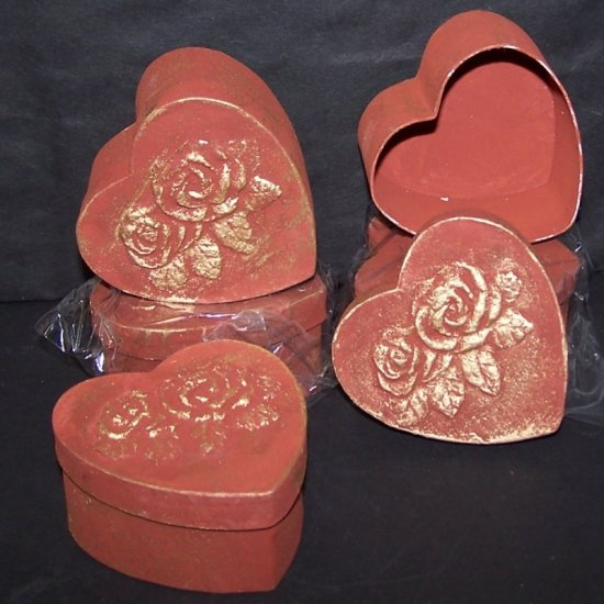 75 Lot Valentine Heart Shaped Candy Jewelry Box Roses