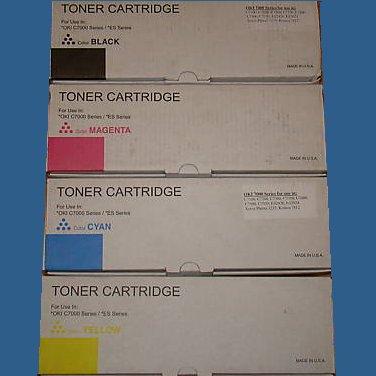 Set of  4 Toner Cartridge For Use In Oki C7000 Series / ES Series Laser printers