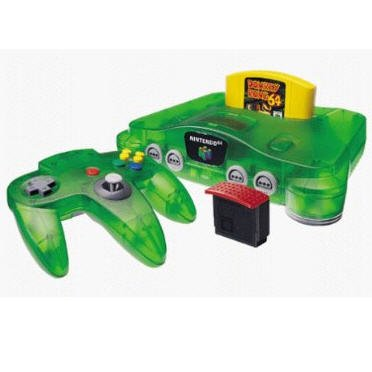 Nintendo 64 System  Jungle Green Video Game Console Donkey Kong Bundle