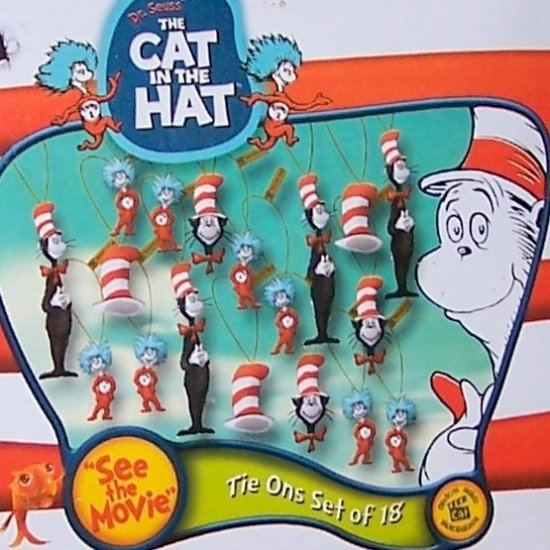 Set of 18 mini Cat In The Hat tie on figurines Christmas Tree ornaments
