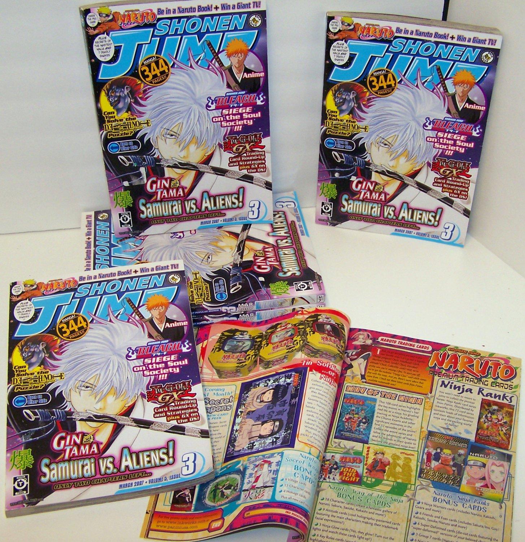 SHONEN JUMP March 2007 Volume 5 Issue 3 Magazine Bonus Narutu Card & Wall Star