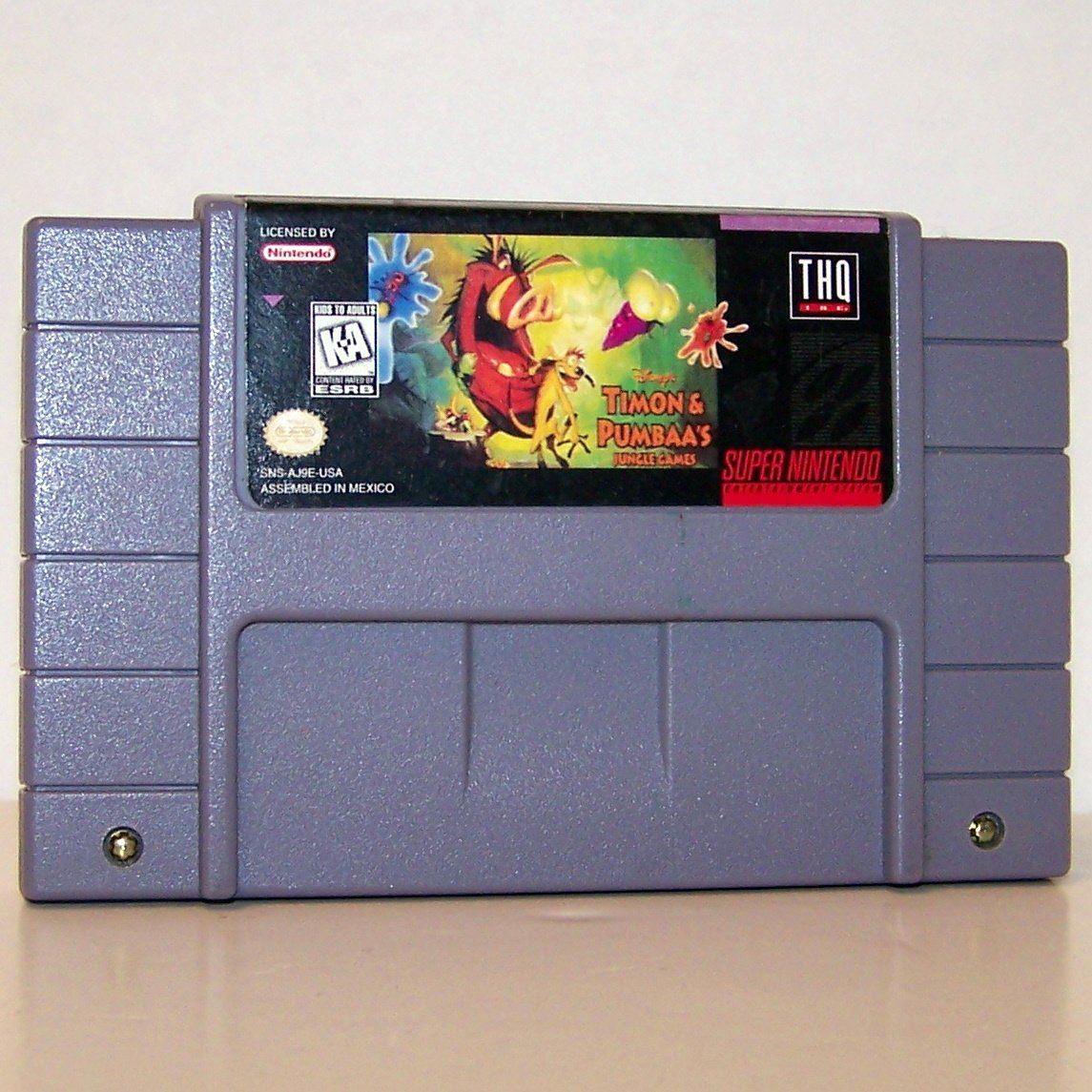 Timon & Pumbaa's Jungle Games  Super Nintendo Game Cartridge