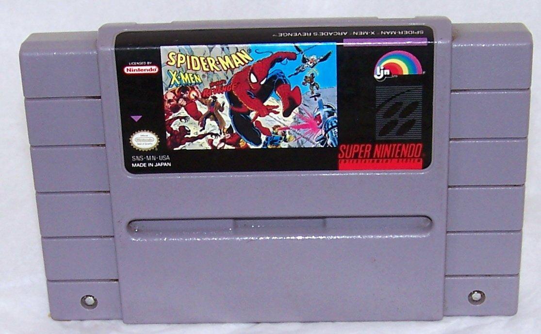 Spider-man X-men Arcade's Revenge Super Nintendo Game Cartridge