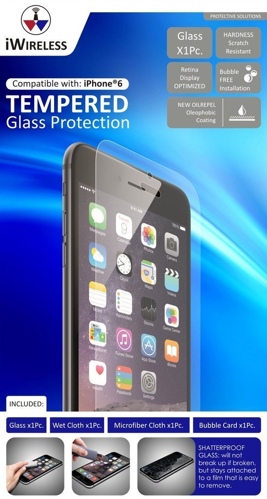 DIAMOND GLASS Shatter-Proof Tempered Glass Screen Protector by iWireless  (iPhone 6)